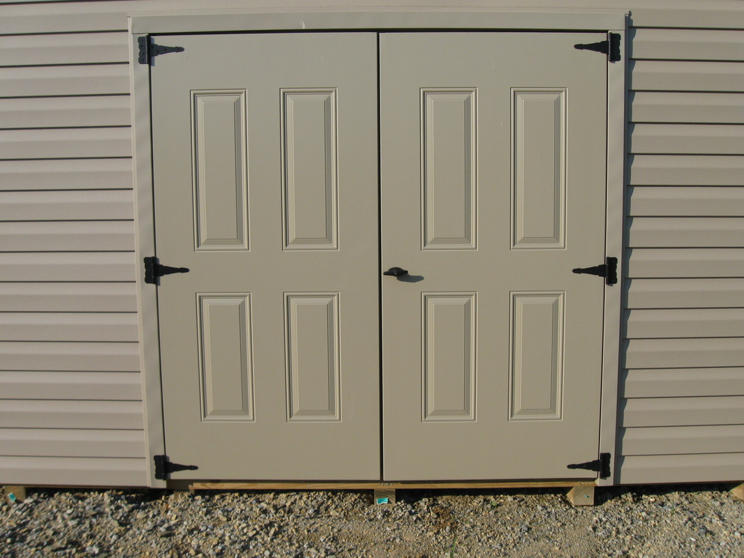 800 #416E69 35.75 X 72 Steel Shed Doors Installed On A Storage Shed. The Door  wallpaper Steel Double Doors Exterior 42151066